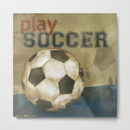 play soccer blue Metal Print