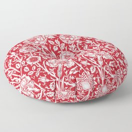 "William Morris Floral Pattern | ""Pink and Rose"" in Red and White Floor Pillow"