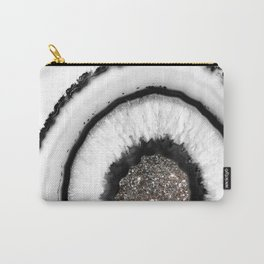 White Agate with Silver Glitter Glam #1 #gem #decor #art #society6 Carry-All Pouch