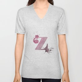 """""""Z"""" Watercolour Letter Typography Illustration Hand Made Initial Unisex V-Neck"""