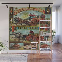 Vintage Firefighter Fire Engine Scene Wall Mural