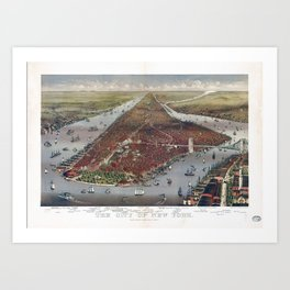 Aerial View of New York City by Currier & Ives (1884) Art Print