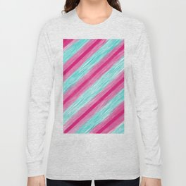 Modern pink teal watercolor brushstrokes stripes Long Sleeve T-shirt