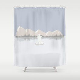 Loneliness of a polar bear Shower Curtain