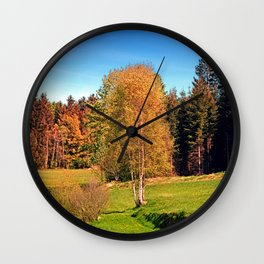 Tree in springtime scenery | landscape photography Wall Clock