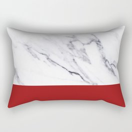 White Marble Red Hot Striped Rectangular Pillow