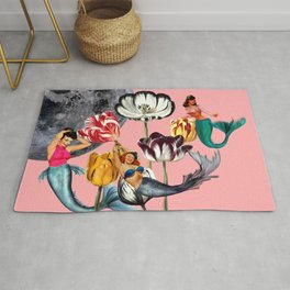 Mermaid Floral with moon Rug