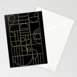 Minimalist Mid Century Modern Black & Gold Pattern Stationery Cards