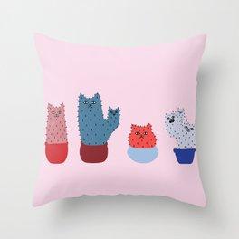 Catcus - Pink Theme Throw Pillow