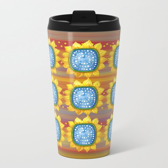 Sunny Flowers II Metal Travel Mug