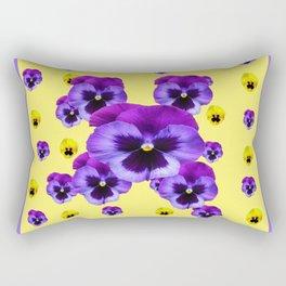 LILAC FRAMED YELLOW & PURPLE PANSY GARDEN FLOWERS Rectangular Pillow