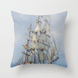 Clipper Ship Three Masted Sails Throw Pillow