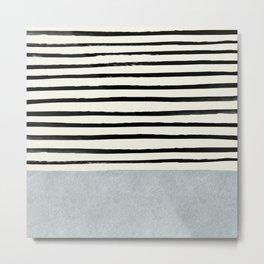 Silver x Stripes Metal Print