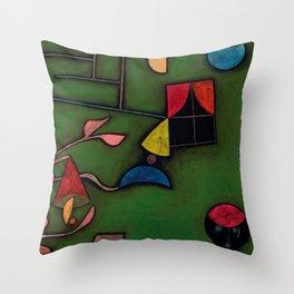 """Paul Klee """"Pflanze und Fenster Stilleben (Still life with Plant and Window)"""" Throw Pillow"""