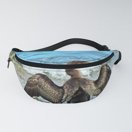 Cormorant Dries off in front of the Sea Fanny Pack