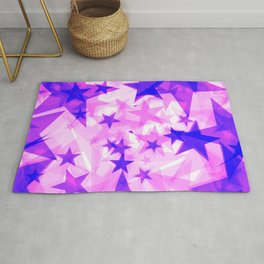 Glowing purple and pink stars on a light background in projection and with depth. Rug