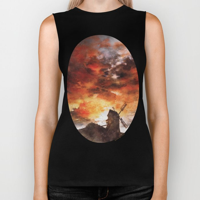 Windmill and the Sunset Sky Biker Tank