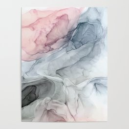 Pastel Blush, Grey and Blue Ink Clouds Painting Poster