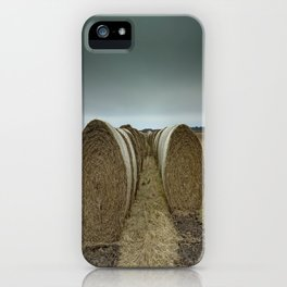 Hay bales on a field iPhone Case