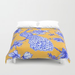 Chinoiserie Peacock Golden Yellow Duvet Cover