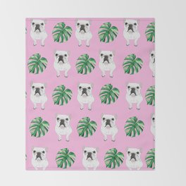 Pretty in Pink - Summer Frenchies Throw Blanket
