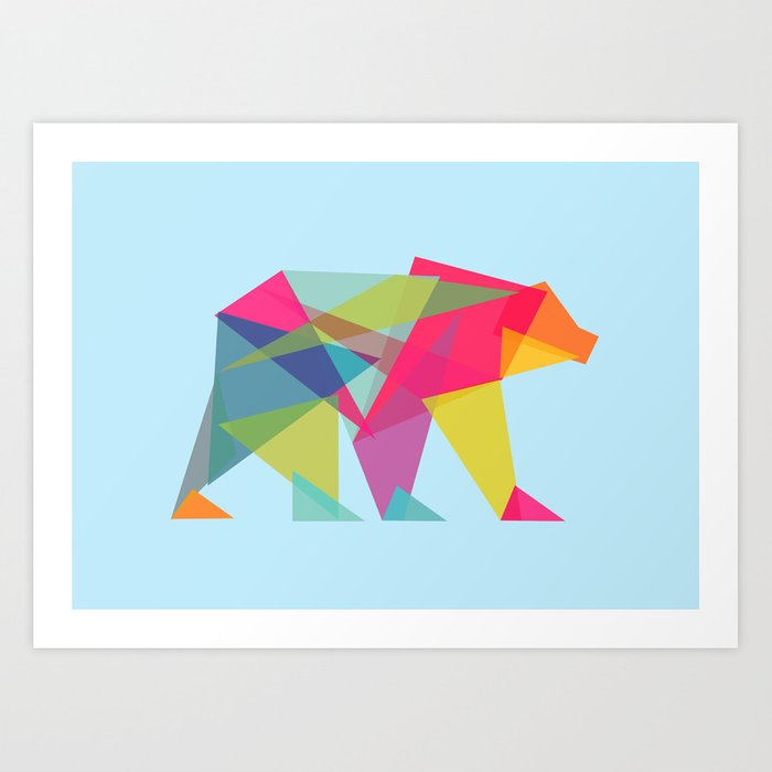 Fractal Bear - neon colorways Art Print
