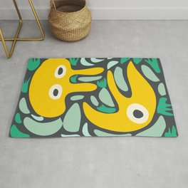 Yellow Cool Monsters for Kids Abstract Art Pattern DecorationCool Monsters for Kids Abstract Art Pattern Decoration Rug