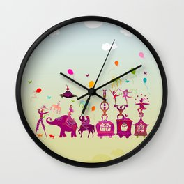 colorful circus carnival traveling in one row during daylight Wall Clock