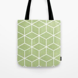 Lime Green and White - Geometric Textured Cube Design Tote Bag