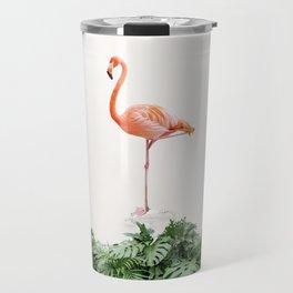 Tropical Flamingo in a Vintage Bathtub (c) Travel Mug