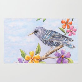 Starling Bird with Flowers Rug