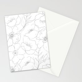 Floral Simplicity - Gray Stationery Cards