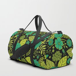 Lime, Jade, Emerald, And Forest Green Floral Pattern Duffle Bag