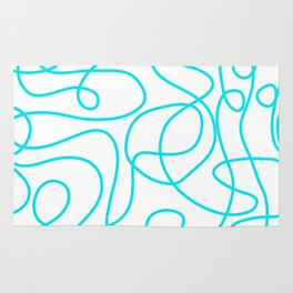 Doodle Line Art   Bright Blue/Turquoise Lines on White Background Rug