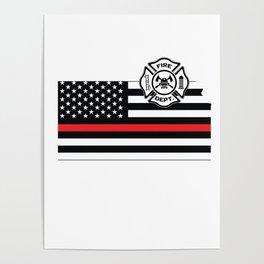 Kansas Firefighter Shield Thin Red Line Flag Poster