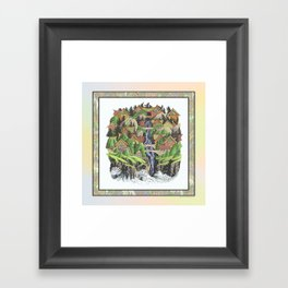 SEASIDE VILLAGE WATERFALL REVISITED COLORED PEN DRAWING Framed Art Print