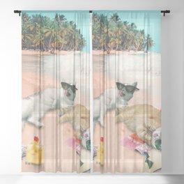 Funny Cat Beach Sheer Curtain