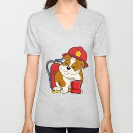 Chibi Anime Bulldog Dog Firefighter Unisex V-Neck