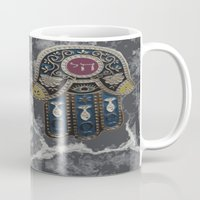 jewish Mugs featuring Jewish Hamsa by Debra Slonim Art & Design