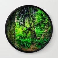 giants Wall Clocks featuring Mossy Giants by JMcCool