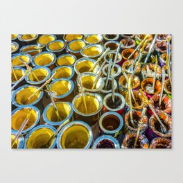 Mate Cups on Sale at Fair Street, Montevideo, Uruguay Canvas Print