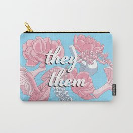 They/Them Floral Pronoun Design Carry-All Pouch