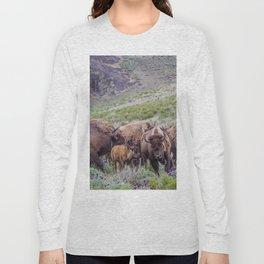 Buffalo On The Move In Yellowstone Long Sleeve T-shirt
