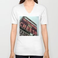 wisconsin V-neck T-shirts featuring Wisconsin Cheese by Tyler Hewitt
