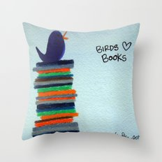 Birds Love Books Throw Pillow