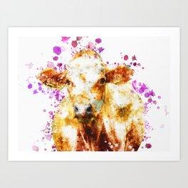 Watercolor Cow Painting, Cow Print, Cow Design, Watercolor Splatter Art Print