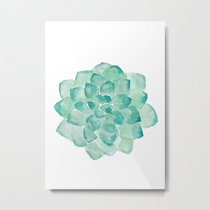 Watercolor Succulent print in seafoam green Metal Print