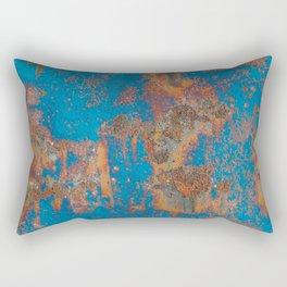 Rust on blue background Rectangular Pillow