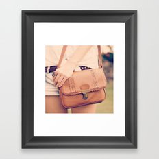 Vintage Leather Bag  Framed Art Print