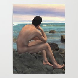Nude Male by the Sea Poster